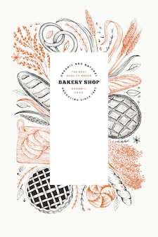 Bread and pastry banner. bakery hand drawn illustration.
