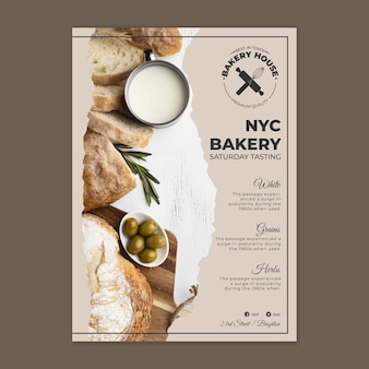 Bread poster template with photo Free Vector