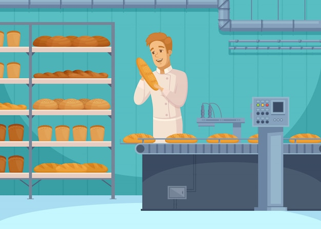Bread production illustration