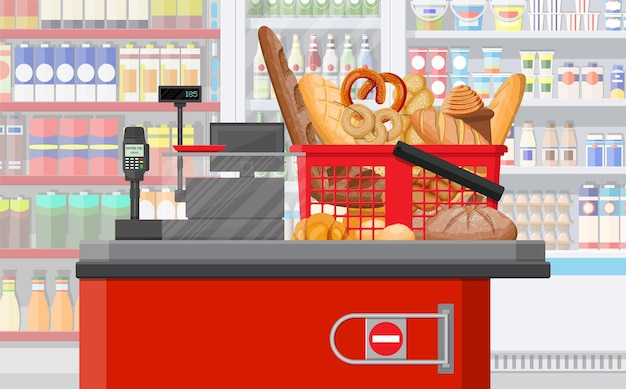 Хлебобулочные изделия в кассе корзины для покупок. интерьер супермаркета. цельнозерновой пшеничный и ржаной хлеб, тосты, крендель, чиабатта, круассан, бублик, французский багет, булочка с корицей. плоский рисунок