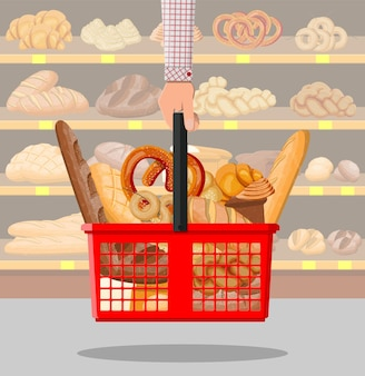 Bread products in shopping basket in hand