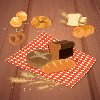 Bread products with meal and fresh food illustration