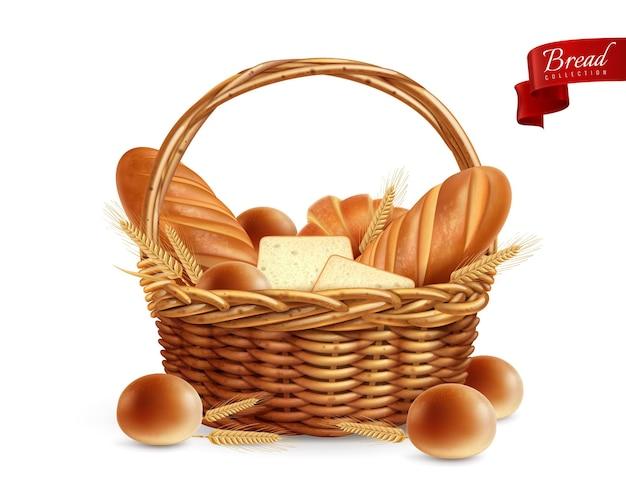 Реалистичная композиция хлеба с корзиной, полной хлебных багетов и тостов с кусочками текстовой иллюстрации