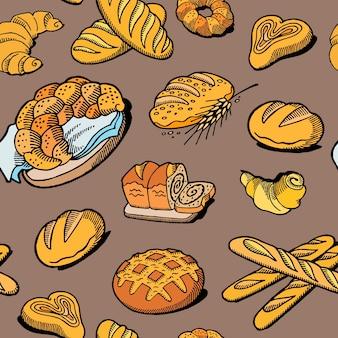 Bread seamless pattern.