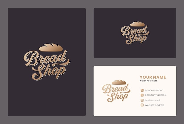 Bread shop lettering design with business card template.