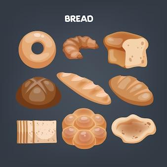 빵 기호. 아침에 신선한 빵집. 건강한