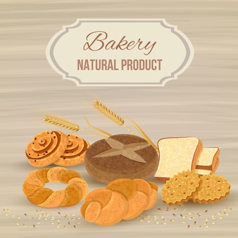 Bread template with bakery natural product