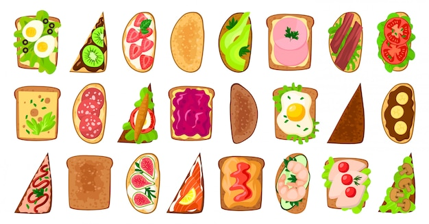 Bread toast  illustration on white background.