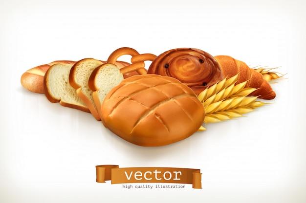 Хлеб, векторная иллюстрация изолированы