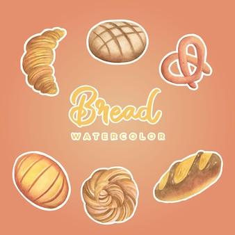 パン水彩ステッカー