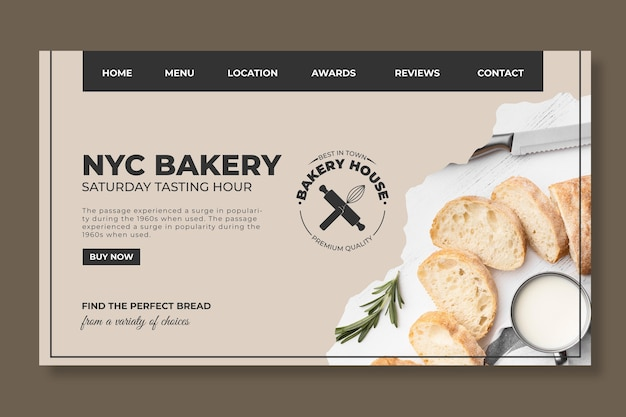Bread web template with photo