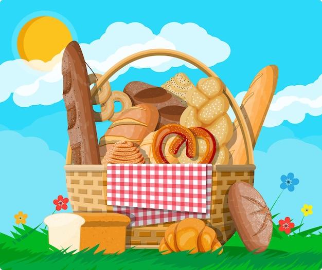 Bread in wicker basket illustration
