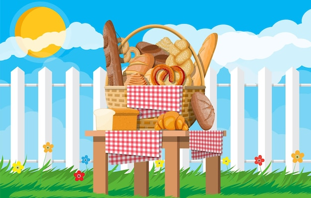 Bread in wicker basket. nature grass flowers cloud and sun. whole grain, wheat and rye bread, toast, pretzel, ciabatta, croissant, bagel, french baguette, cinnamon bun. vector illustration flat style