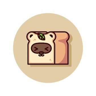 かわいいアライグマの顔のイラストでパン