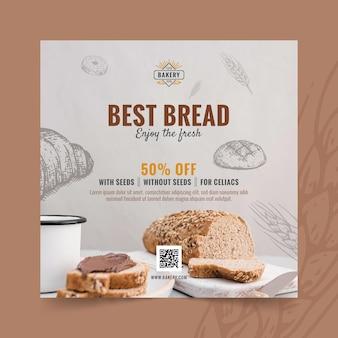 할인 제곱 된 전단지와 빵