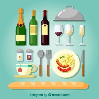 와인 병 및 기타 restauran 요소와 빵