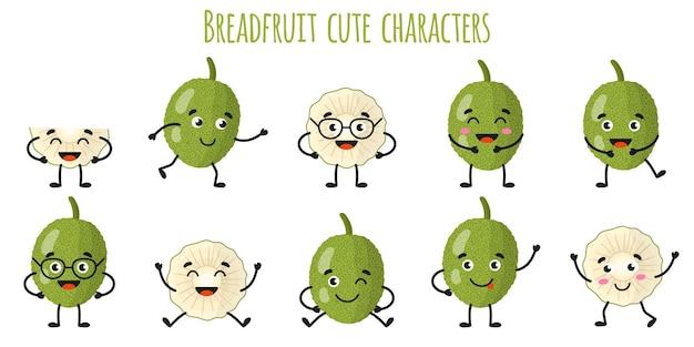다른 포즈와 감정을 가진 빵 열매 과일 귀여운 재미 쾌활한 캐릭터. 천연 비타민 항산화 해독 식품 수집. 만화 격리 된 그림입니다.