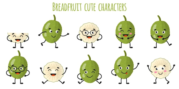 Breadfruit fruit cute funny cheerful characters with different poses and emotions. natural vitamin antioxidant detox food collection.   cartoon isolated illustration.