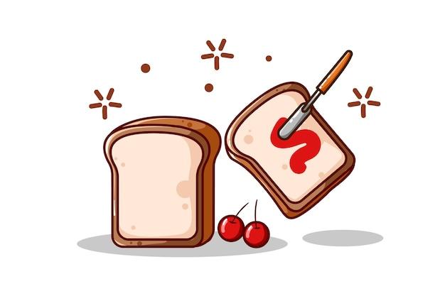 Хлеб и джем, изолированные на белом фоне