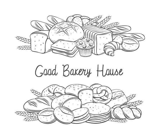 パン焼き菓子banneアウトラインモノクロイラスト