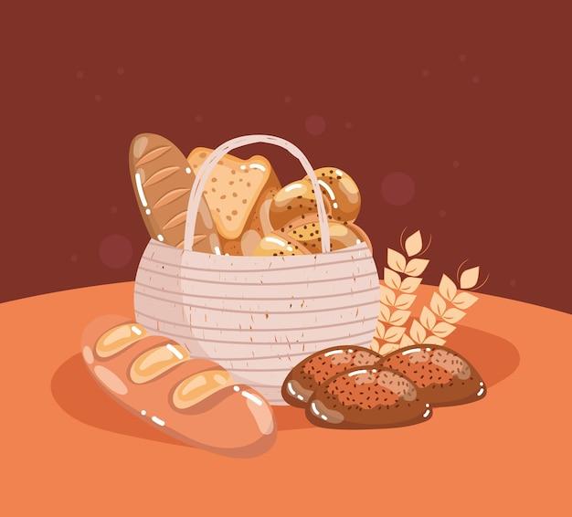 고리 버들 세공 바구니에 빵