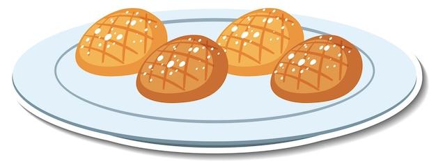 Pane sul piatto adesivo su sfondo bianco