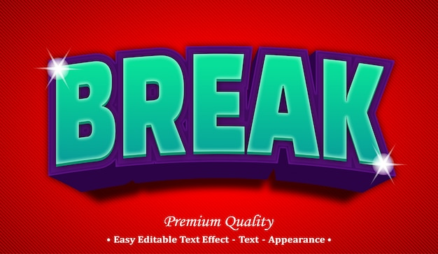 Break 3d editable text style effect