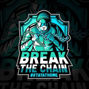 Break the chain of covid-19 pandemic - esport logo illustration