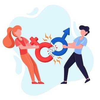 Разбить гендерные нормы иллюстрации с мужчиной и женщиной