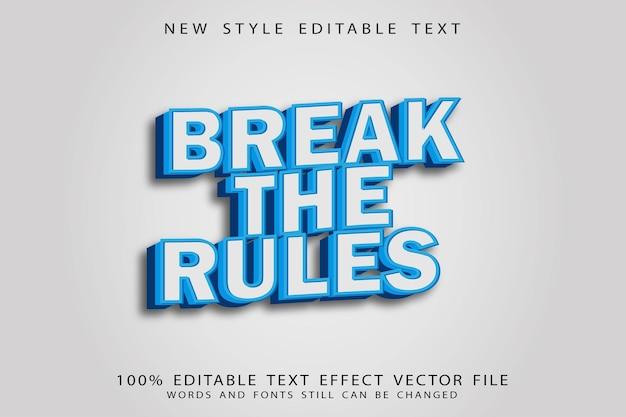 Нарушайте правила редактируемый текстовый эффект в винтажном стиле