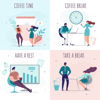 Break time and rest in office cartoon cards set