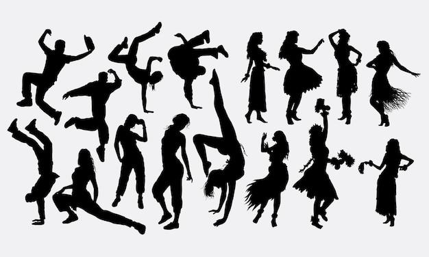 ブレイクダンスとフラガールのダンスシルエット