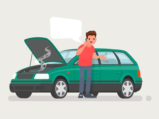 Breakdown of the car on the road. Premium Vector