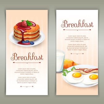 Breakfast 2 vertical banners set