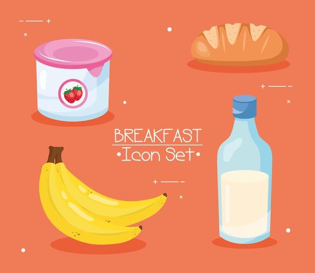 Завтрак 4 значок набор дизайн, еда и еда тема векторные иллюстрации
