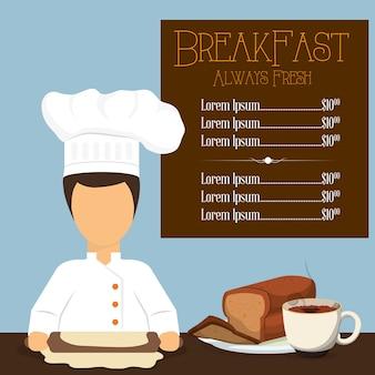 Breakfast always fresh menu chef bread coffee cooking