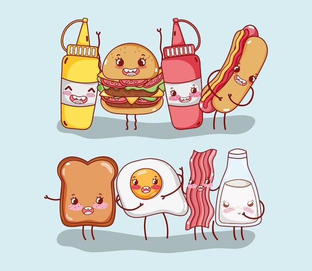 朝食とファーストフードのかわいいハンバーガーホットドッグパン卵ベーコンミルクの漫画のキャラクター