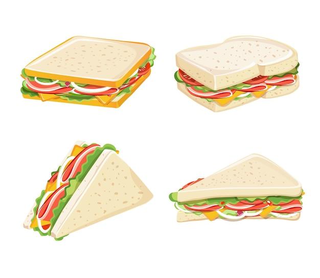 Завтрак и wiches, набор вкусных бутербродов, векторные иллюстрации