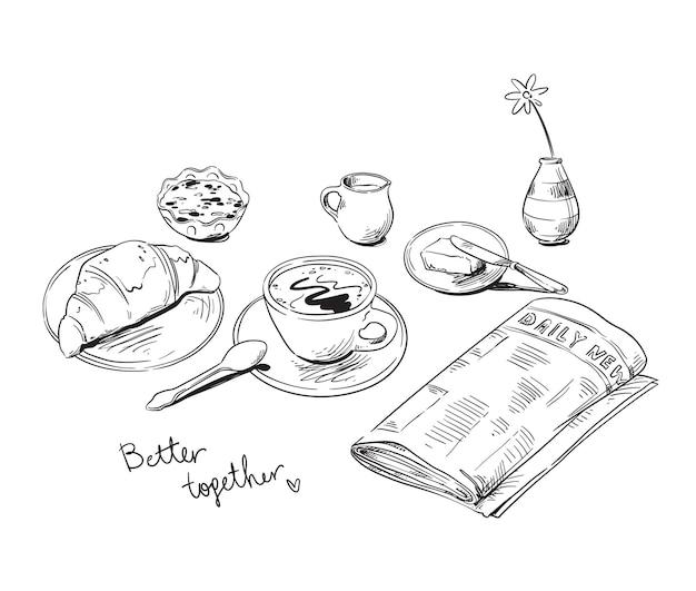 Завтрак с газетой, изолированные на белом, штриховая графика векторные иллюстрации