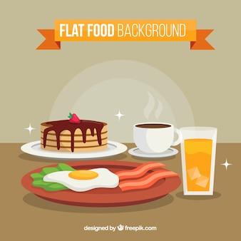 フラットデザインの朝食用の背景