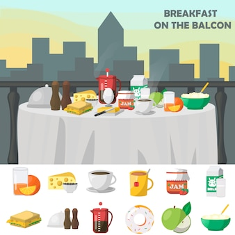 Breakfast on balcon concept