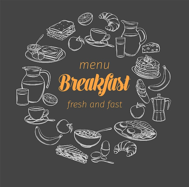 Breakfast and brunch banner, blackboard style. sketch brunch menu  butter, sour cream and whipped cream.