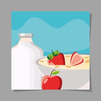 아침 시리얼 과일 우유