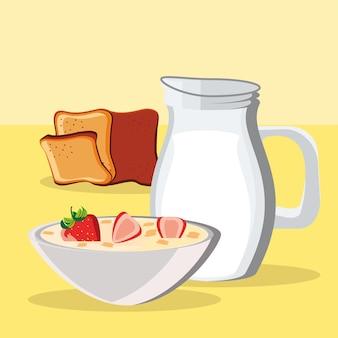 아침 시리얼 우유 빵