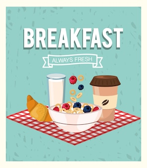 Breakfast and cereal with strawberries and blackberries fruits