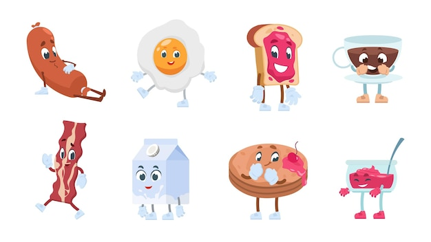 Breakfast characters. breakfast food with cute kawaii faces, toast eggs jam milk coffee and bakery pastries. vector illustration objects funny morning smiling food for comic illustrated