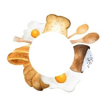 아침 식사 원 프레임. 빵, 튀긴 계란, 밥 그릇 그림. 수채화