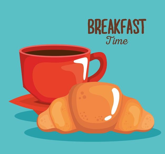 Чашка кофе для завтрака и дизайн круассанов, еда и свежая тема.