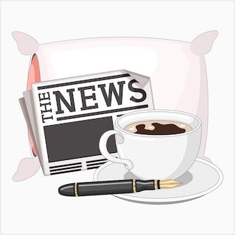 朝食コーヒー新聞ジャーナリストのペンと枕