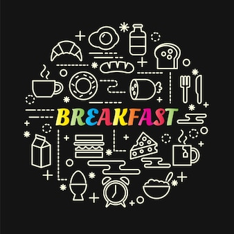 Breakfast colorful gradient with line icons set